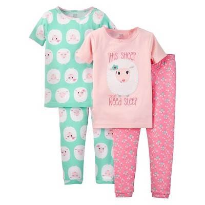 9M Baby Girls' Snug Fit Cotton 4-Piece Pajama Set - Just One You™ Made by Carter's®