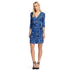 Women's Long Sleeve Wrap Dress Blue Leopard Print - Leyden
