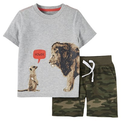 Just One You Made by Carter's™ Toddler Boys' 2-Piece Short Set - Heather Grey/Camo 2T