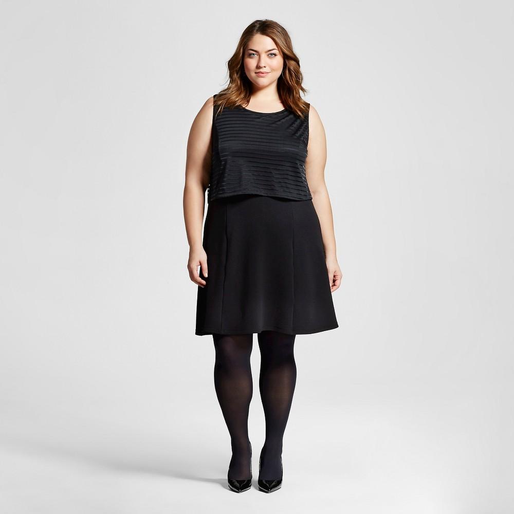 Women's Plus Size Shadow Stripe Dress Black Combo - Como Black