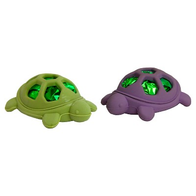 Rubber and Mylar Turtle Cat Pounce Toy Green & Purple (2 pk) - Boots & Barkley™