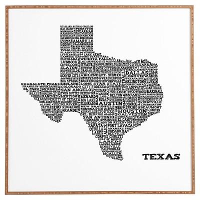 DENY Designs Restudio Designs Texas Map Framed Wall Art