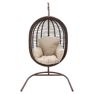 Hanover Outdoor Wicker Pod Swing Chair - Brown/Cream