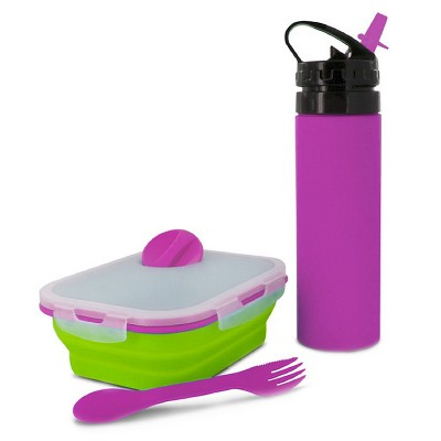 SmartPlanet Pink/Green Combo 2 Piece Silicone Water Bottle and Meal Kit