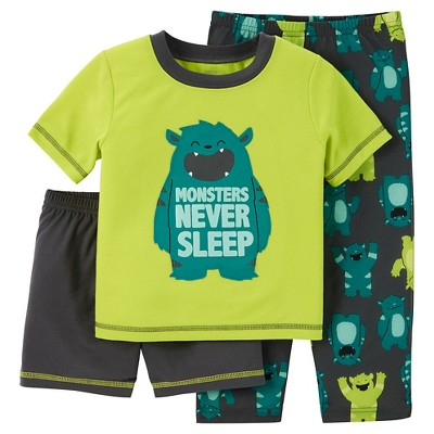 Just One You™ Made by Carter's® Baby Boys' 3-Piece Monster Pajama Set Green 18M