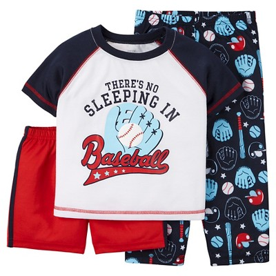 Toddler Boys' 3-Piece Baseball Pajama Set - Navy 12M