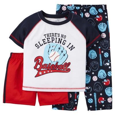 Toddler Boys' 3-Piece Baseball Pajama Set - Navy 18M