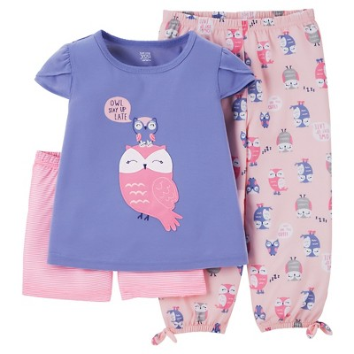 Just One You™ Made by Carter's® Baby Girls' 3-Piece Owl Pajama Set Blue/Pink 12M