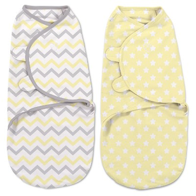 SwaddleMe® Original Swaddle 2-pack Grey and Yellow Chevron/Stars (Small 0-3 months)