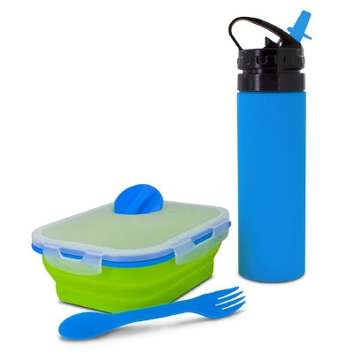 SmartPlanet Green/Blue Combo 2 Piece Silicone Water Bottle and Meal Kit