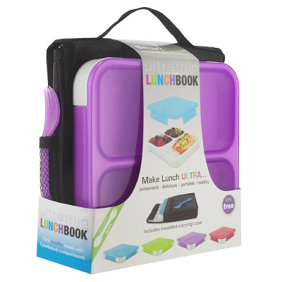 SmartPlanet Purple Ultra Thin Lunchbook with Insulated Bag and spork
