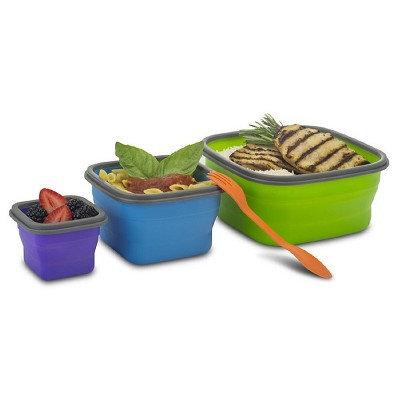 SmartPlanet 7 Piece Collapsible Silicone Food Storage Set, comes with spork