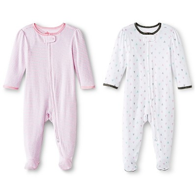 Circo™ Baby Girls' 2-Pack Footed Sleeper - Pink 6-9 M