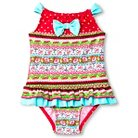 Toddler Girls' Floatimini Floral Border Back Neck Tie Ruffled One-Piece Swimsuit Red