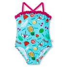 Toddler Girls' Summer Fruits Printed Simple One-Piece Swimsuit With Ruffle Edge And Adjustable Straps