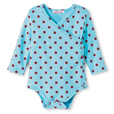 Baby Nay Twin Dots Long Sleeve Kimono Bodysuit - Aqua 3 M