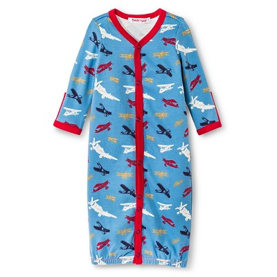 Baby Nay Vintage Airplanes Nightgowns - Blue 0-3 M