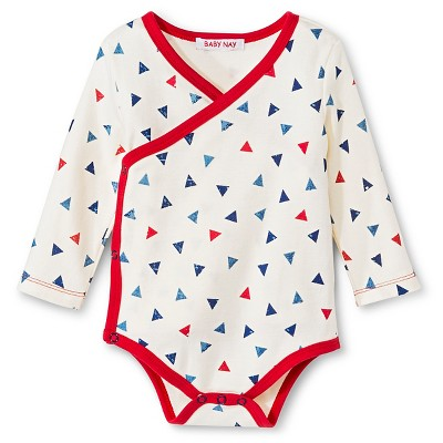 Baby Nay Triangles Long Sleeve Kimono Bodysuit - Light Cream 3 M