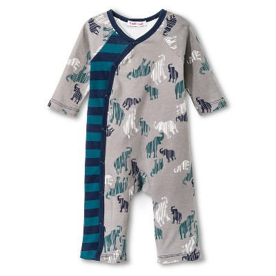 Baby Nay Camy Elephants Long Sleeve Kimono Romper - Green & Navy 3 M