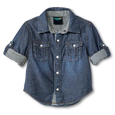 Toddler Boys' Button Down Shirt - Blue 12M