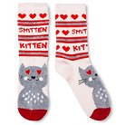 Women's Crew Sock Valentine's Day Pink Smitten Kitten - One Size