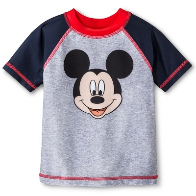 Baby Boys' Disney Mickey Mouse Rash Guard Gray 12M