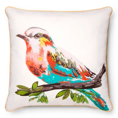 Decorative Pillow Threshold Birds Multi-colored Sour Cream