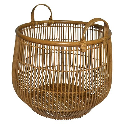 Threshold Round Rattan Basket w/ Curved Handles - Large