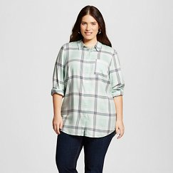 Women's Plus Size Long Sleeve Plaid Shirt - Como Black