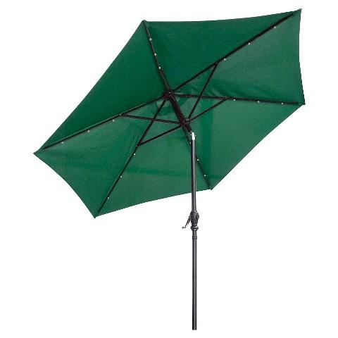 sun ray 9 39 solar lighted aluminum patio umbrella green product details. Black Bedroom Furniture Sets. Home Design Ideas