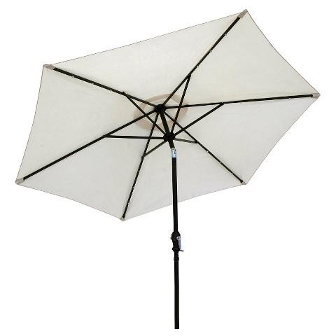 sun ray 9 39 solar lighted aluminum patio umbrella cream product. Black Bedroom Furniture Sets. Home Design Ideas