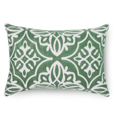 Embroidered Medallion Lumbar Throw Pillow - Green – Threshold™