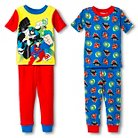 Toddler Boys' Warner Brothers DC Super Heroes 4-Piece Pajama Set - Multicolored