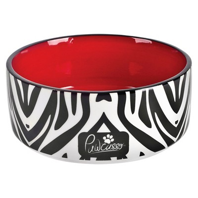 "Housewares International 6"" Pawcasso Pet Bowl with Zebra Design"