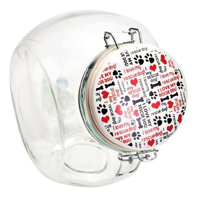 """Housewares International 76 Oz Slant Glass Jar with Ceramic Lid """"I Love My Rescue Dog"""""""