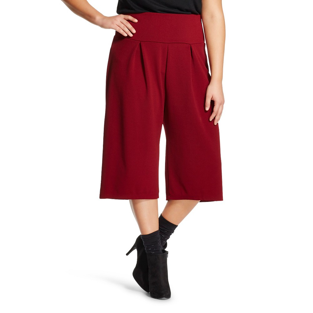 Women's Plus Size Gaucho Pant Burgundy (Red) - Lily Star