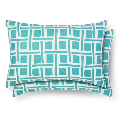 2 Pack Throw Pillow - Lumbar Turquoise Grid - Room Essentials™