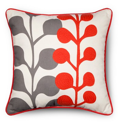Embroidered Botanical Throw Pillow - Orange - Room Essentials™