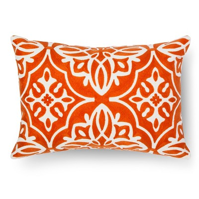 Embroidered Medallion Lumbar Throw Pillow - Coral – Threshold™