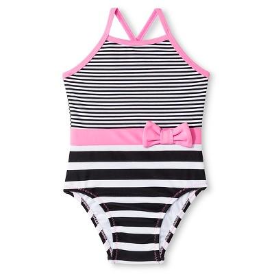 Baby Girls' Striped 1-Piece Swimsuit Black/White 9M - Circo™