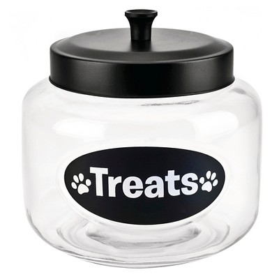 "Housewares International 108 Oz Glass ""Treats"" Pet Jar with Black Lid"