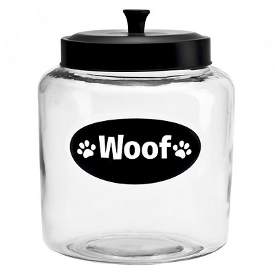 "Housewares International 152 Oz Glass ""Woof"" Pet  Jar with Black Lid"