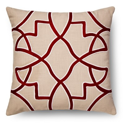 Embroidered Fretwork Throw Pillow - Red – Threshold™