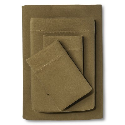 Room Essentials™ Jersey Sheet Set - Natural Green (Queen)