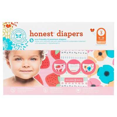 Honest Diapers Super Club Pack, Strawberries/Pastel Tribal/Poppies - Size 3 (102 Count)