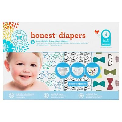 Honest Super Club Pk Diapers Bikes/Skulls/Ties Sz4 (90 Count)