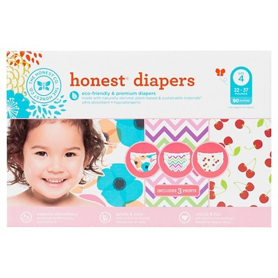 Honest Diapers SprClPk Pps/Chvrn/Chrrs Size 4 (90 Count)