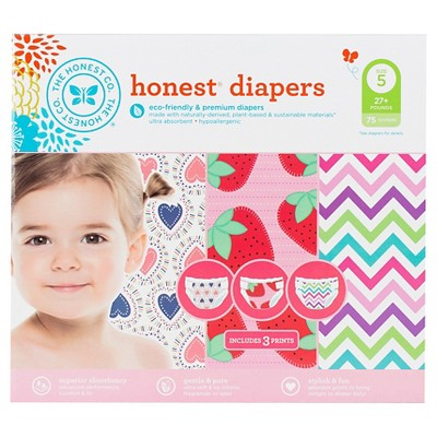 Honest Super Club Pk Diapers HrtsStrwbChvrn Size 5 (75 Count)