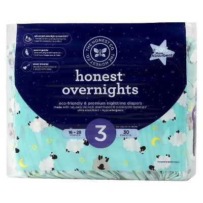 Honest Company Overnight Diapers-Sleepy Sheep - Size 3  (30 Count)