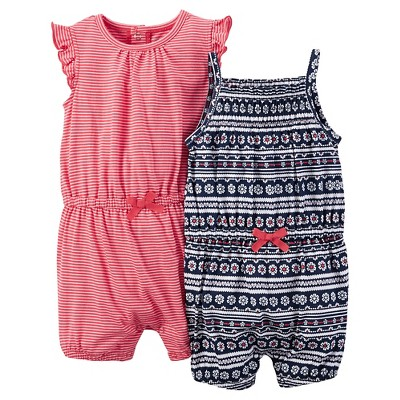 Just One You™Made by Carter's®  Newborn Girls' 2 Pack Knit Pattern Rompers - Blue Multi/Red 3M